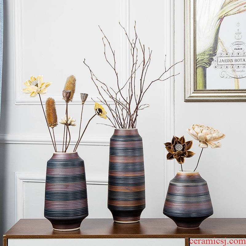 Ceramic vases, furnishing articles decorations living room TV cabinet flower arranging, creative new Chinese style decoration Japanese zen move