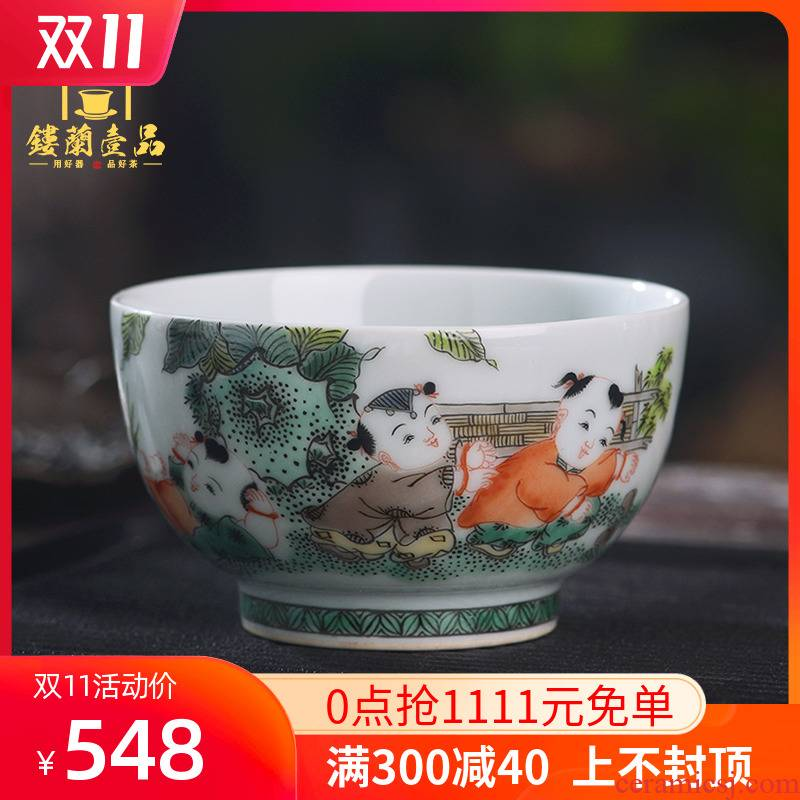 Jingdezhen ceramics hand - made colors the lad master cup tea single CPU kunfu tea, personal use