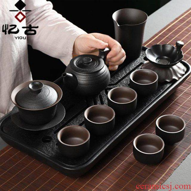 The kitchen have ancient tea service office suit household contracted sitting room lid bowl of black ceramic kung fu tea cups