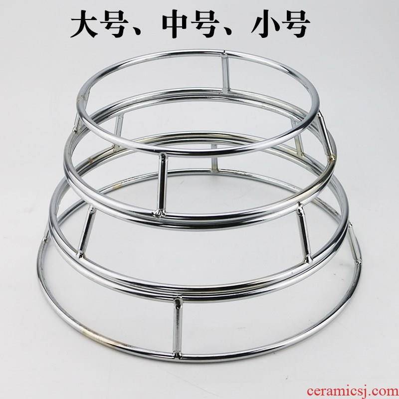 Solid stainless steel pan bracket circle kitchen rack cooking pot shelf rack for simple circular base