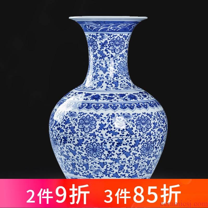 Jingdezhen porcelain ceramic large blue and white porcelain vase landed furnishing articles of new Chinese style household flower arrangement sitting room adornment
