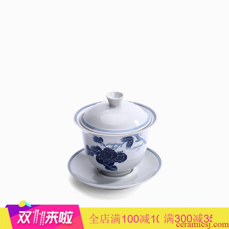 Gather three scene to make tea tureen ceramic cups large single hand - made teacup manual kung fu tea antique green