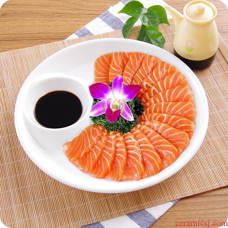 Pure white ceramic circle have case with sushi vinegar dish dish moonlight dim sum dish home dishes dumplings plate mail