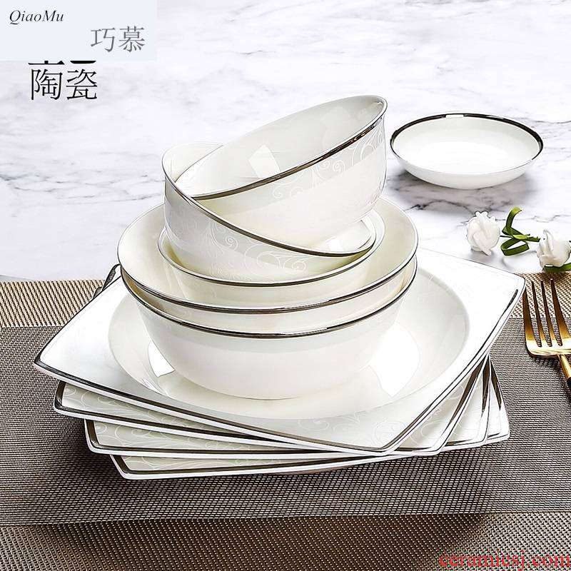 Qiao mu dishes suit household up phnom penh ipads porcelain tableware suit dishes of jingdezhen ceramic bowl chopsticks sets of northern Europe