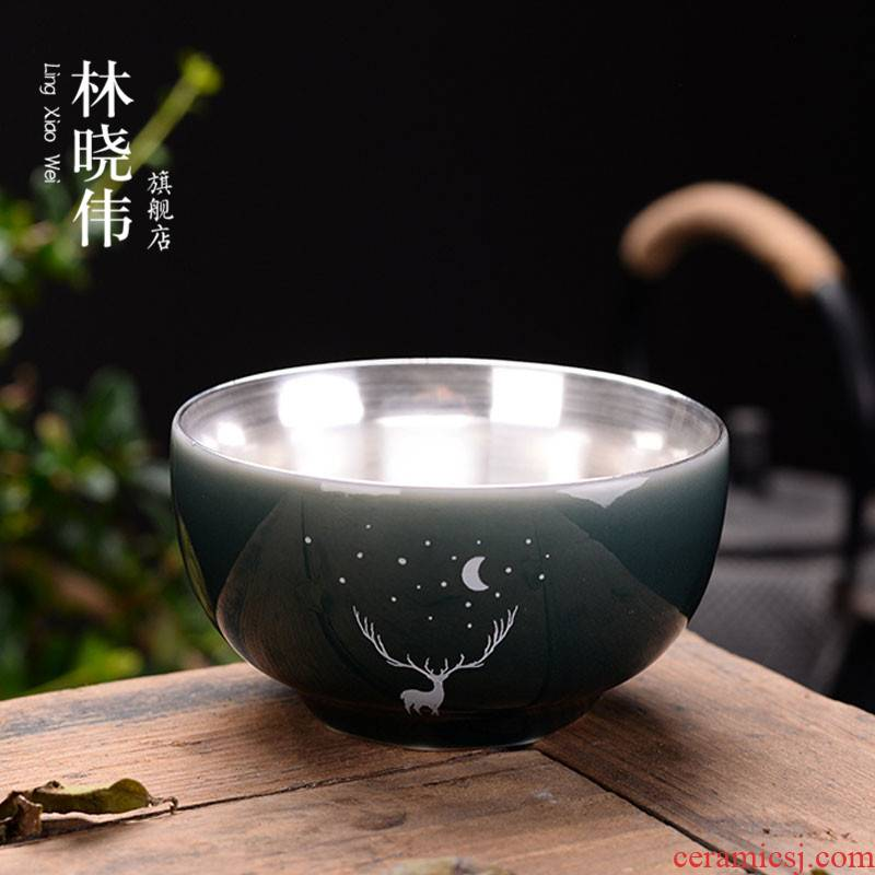 Lin Xiaowei tasted silver gilding masters cup of household ceramic tea cup sample tea cup 999 sterling silver deer kung fu tea cups, small bowl