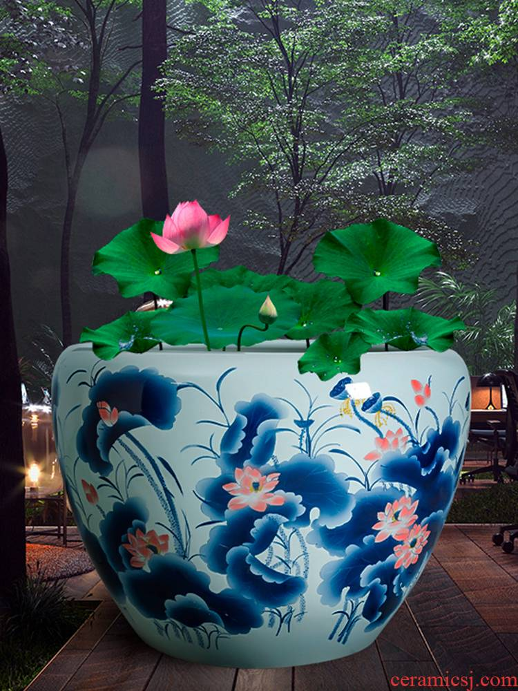 Copper grass flower pot water lily always LianHe spend extra large painting tortoise cylinder cylinder of jingdezhen ceramics garden furnishing articles