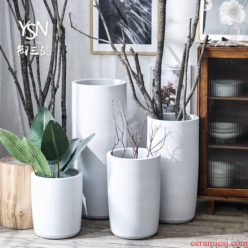 Royal three Nordic green plant big mud creative furnishing articles I and contracted white ceramic vase flowerpot flower bed decoration