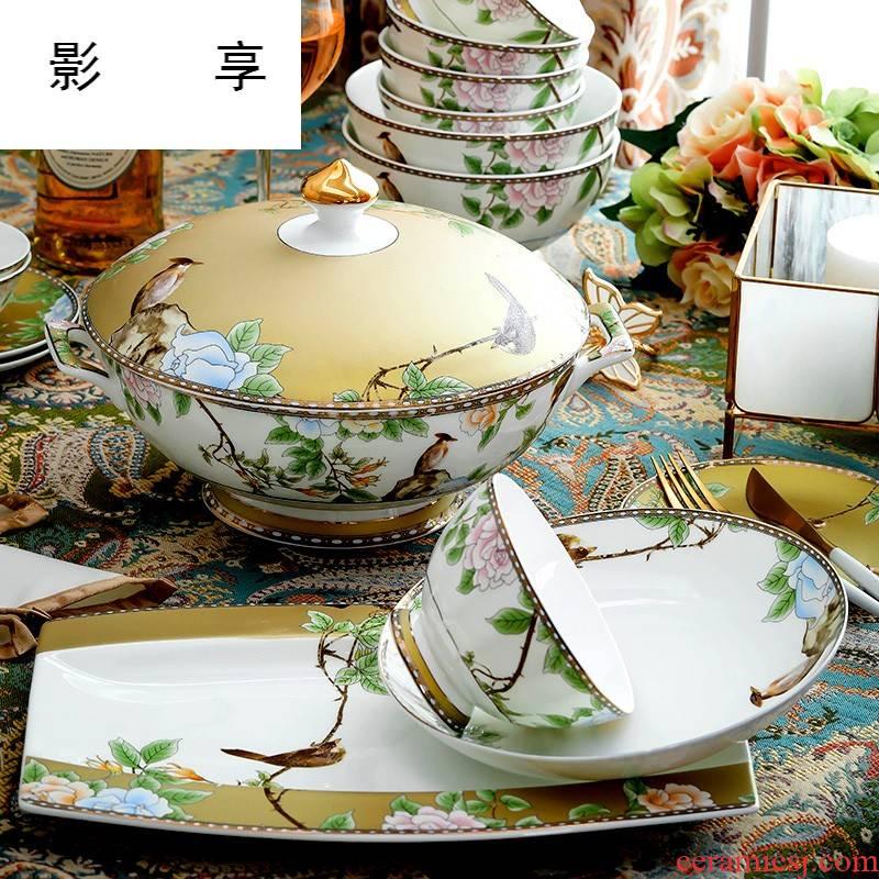 Shadow enjoy bowls cutlery set dishes home eat ipads bowls dish dish dish dish bowl chopsticks jingdezhen ceramic L