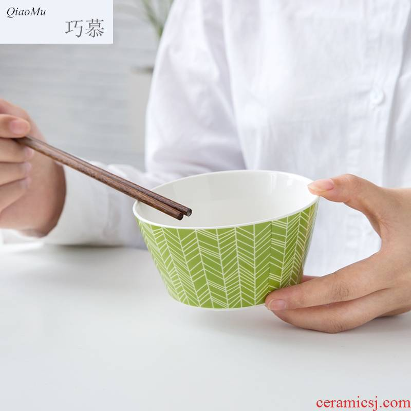 Qiam qiao mu household ceramic bowl contracted creative Chinese style new ipads China tableware eat rice bowl cleaning