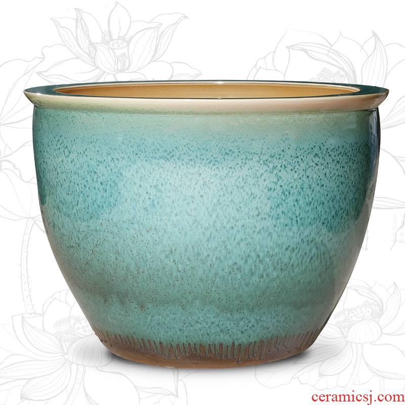 Archaize of jingdezhen ceramic aquarium large raising goldfish bowl lotus lotus basin home sitting room courtyard large tank
