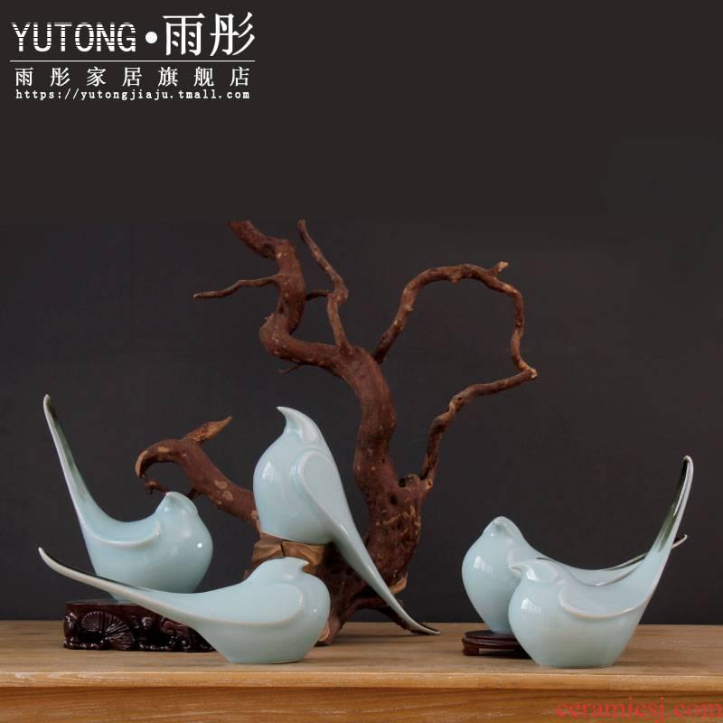 Jingdezhen ceramic checking shadow blue glaze bird pay-per-tweet landing soft outfit furniture furnishing articles creative modern decoration home outfit