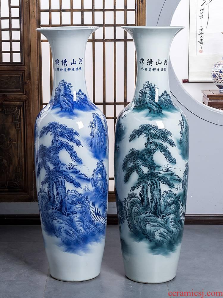 Jingdezhen ceramic floor extra large size vase splendid furnishing articles was sitting room TV ark, of blue and white porcelain hotel decoration