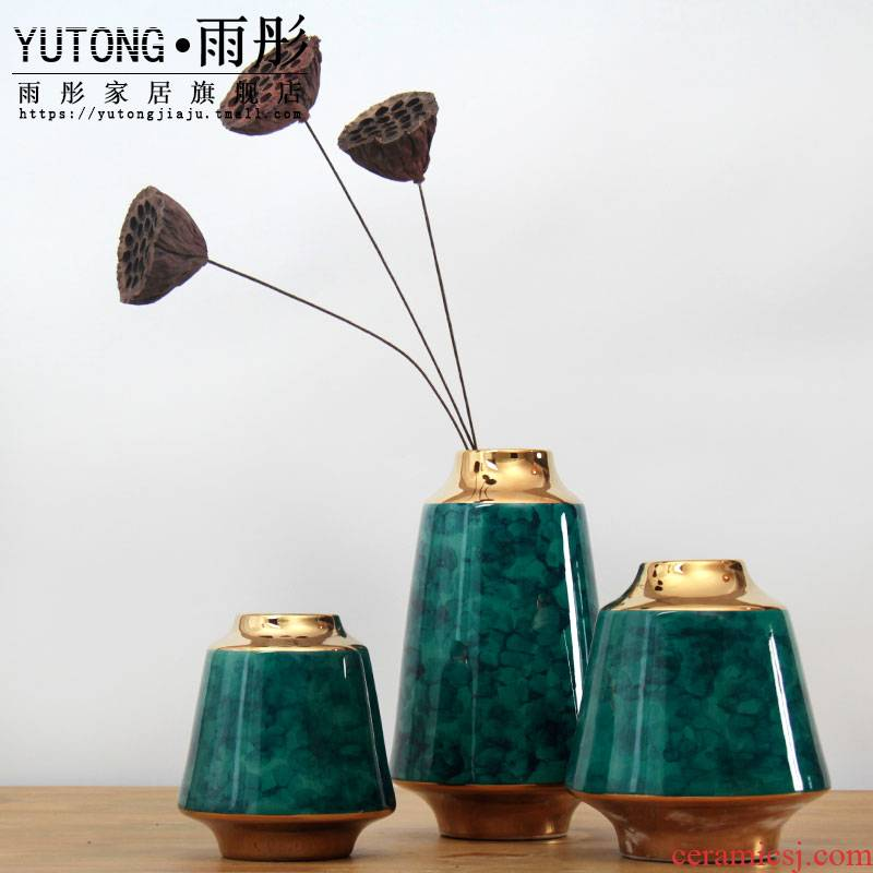 Porcelain of jingdezhen ceramic checking flowers furnishing articles sitting room creative decoration decoration see colour up dried flower bottle