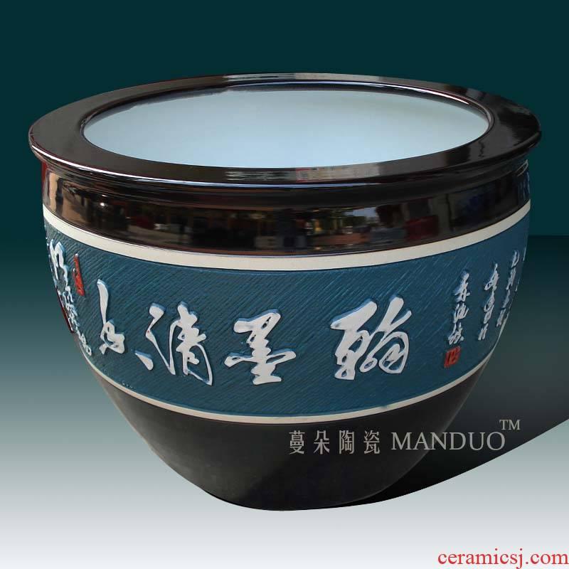 Jingdezhen carved lettering of the big cylinder painting porcelain porcelain VAT relief engraving cylinder cylinder plant trees planting flowers