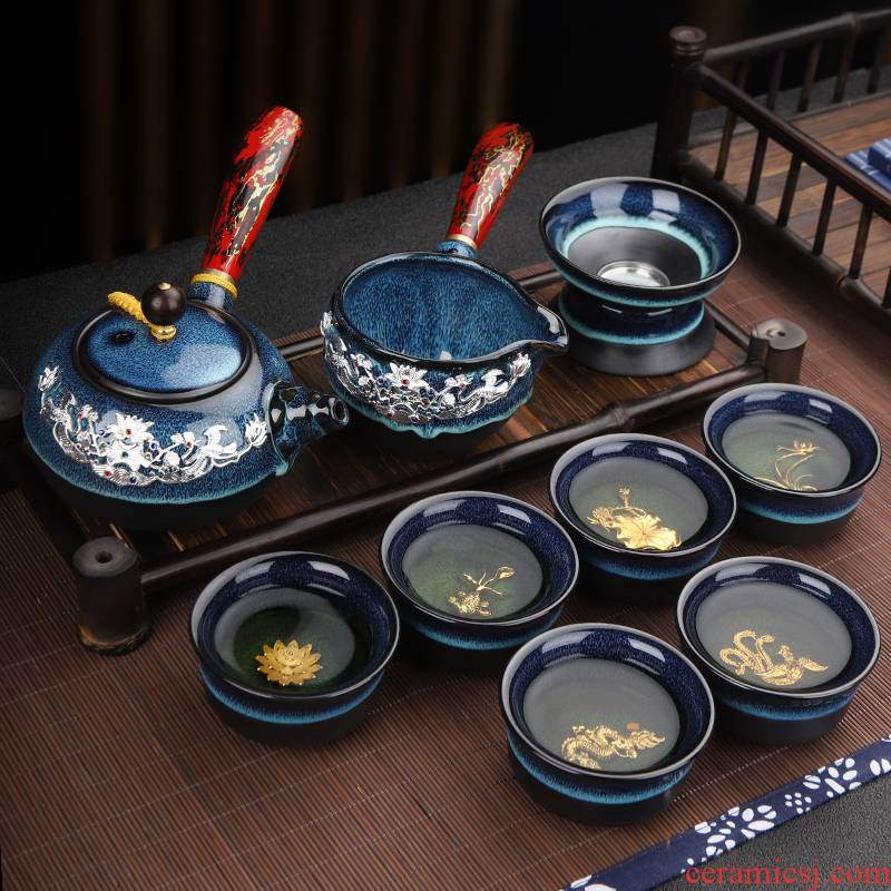Ya xin company hall was built one tea set suit household up tureen tea kettle kung fu tea light ceramic cups with silver