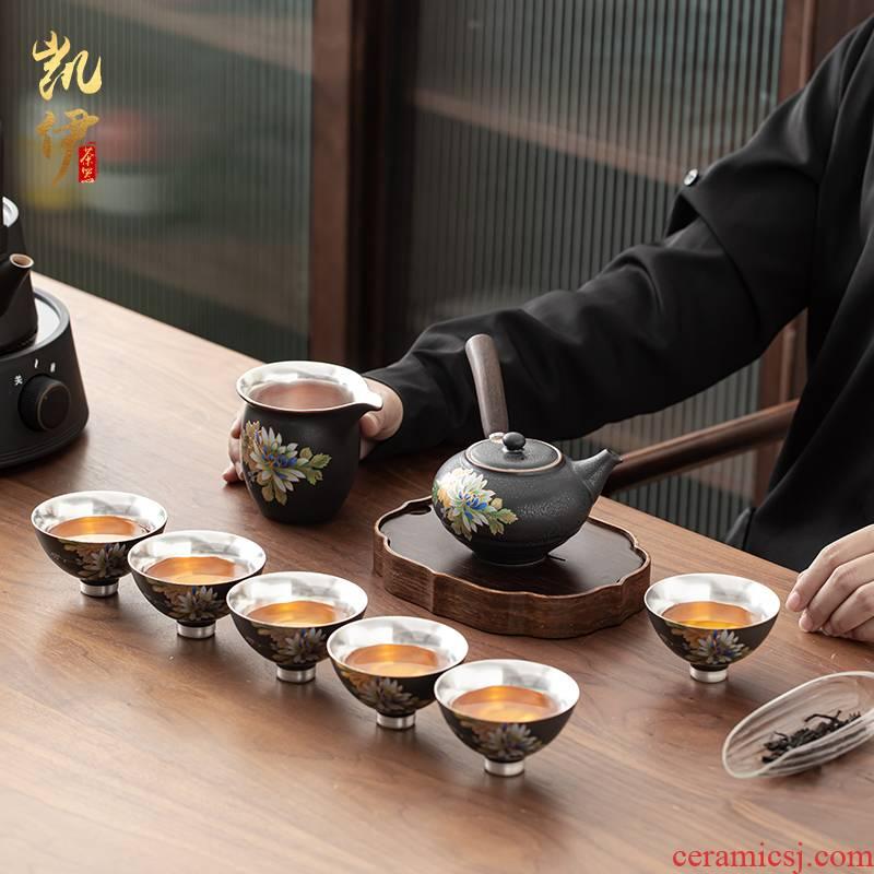 Steak tasted silver gilding side put the pot of kung fu tea set jingdezhen ceramic sample tea cup silver cup tea tea set
