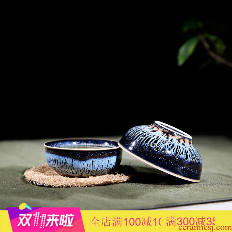 . Poly real boutique scene kung fu tea sample tea cup jingdezhen ceramic tea set manually variable temmoku pu - erh tea cup S