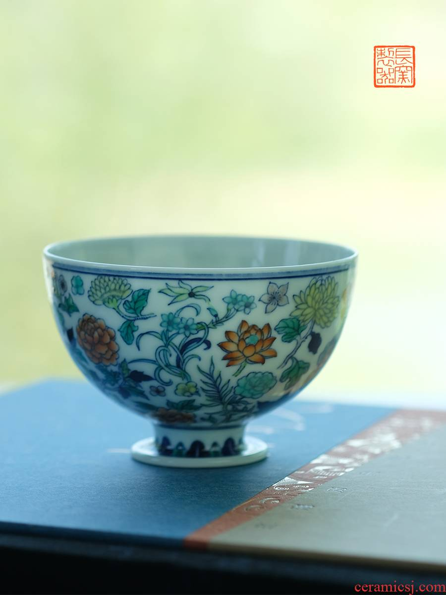 Long up controller hand - made color bucket peony flowers best cup of jingdezhen ceramics by hand, a single tea cups
