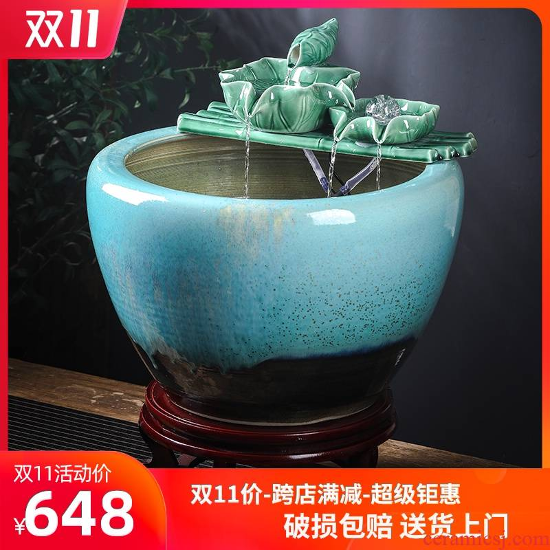 Jingdezhen ceramic fish tank is big sitting room be born king hotel courtyard brocade carp fish tank water aquarium