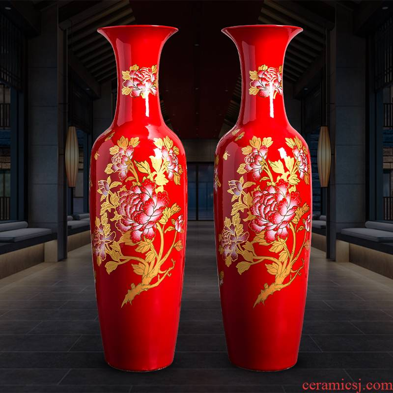 Jingdezhen ceramic Chinese red porcelain vase extra large blooming flowers sitting room hotel ground adornment furnishing articles