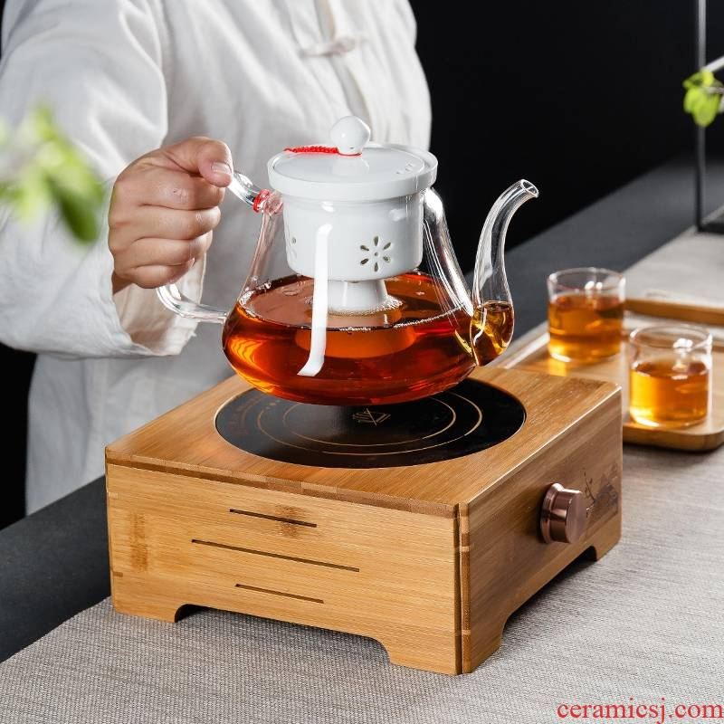 Qiao mu glass black tea tea steamer to cook tea ware home a whole set of electric TaoLu high - temperature cooking teapot tea set