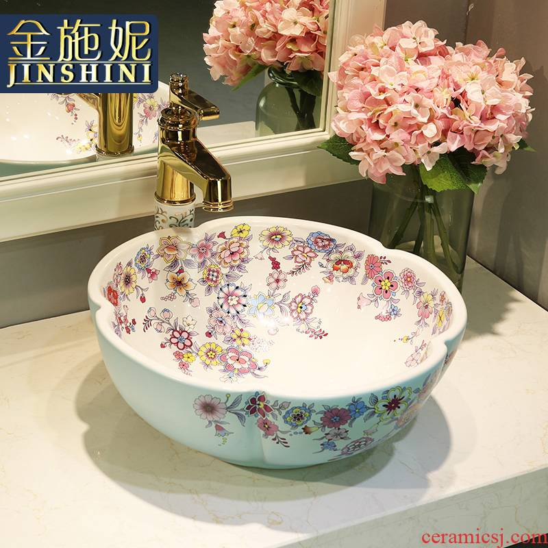 Gold cellnique lavatory jingdezhen ceramic stage basin rounded petals hand plate toilet lavabo art basin