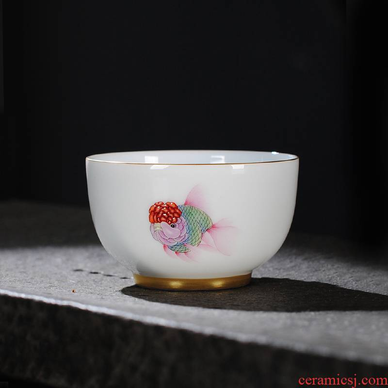 Owl up jingdezhen tea kung fu jade clay ceramic cups hand - made thin foetus master single cup a cup of tea cups