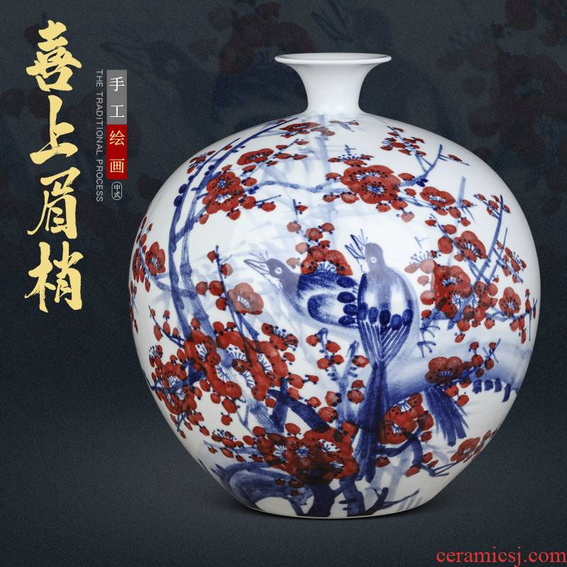 Jingdezhen ceramics beaming pomegranate hand - made bottle of new Chinese style living room home furnishing articles creative flower vase