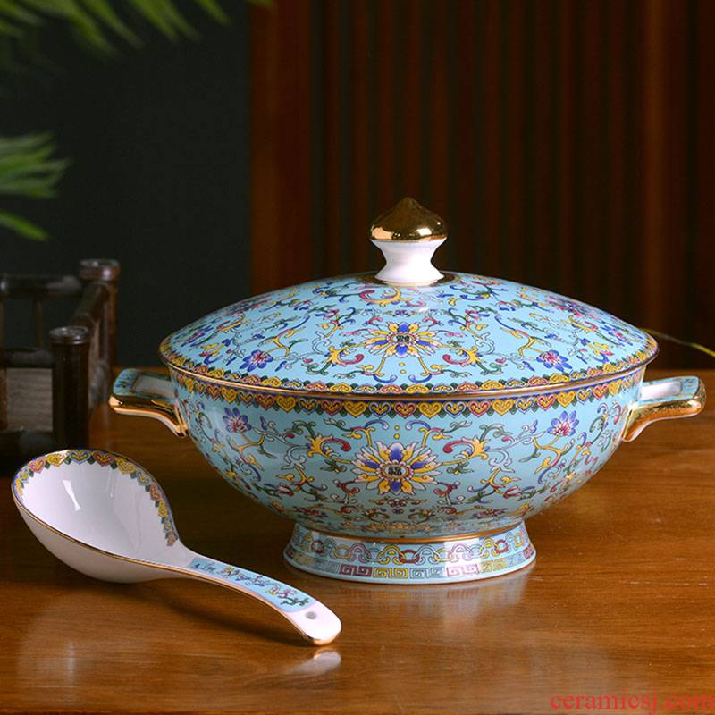 Jingdezhen porcelain enamel color big bowl of Chinese style household ipads porcelain tableware bowls of soup bowl with cover large capacity pot with ears