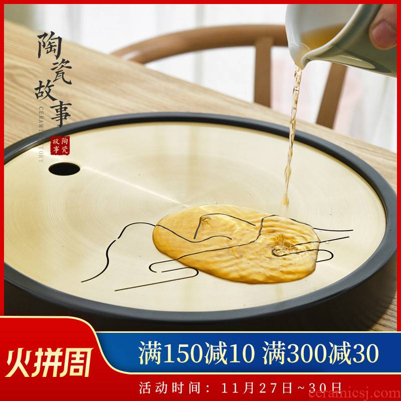 Ceramic tea tray was Japanese zen story's brass dry tea sets tea saucer sea water household creative kung fu tea set
