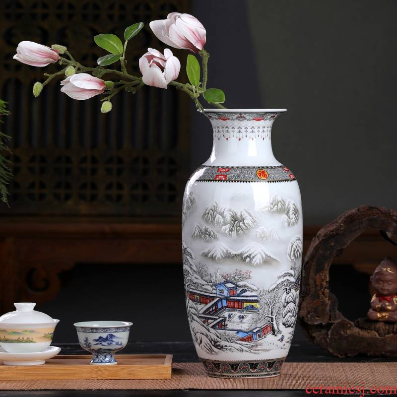 Chinese style restoring ancient ways of jingdezhen ceramic vase furnishing articles classical Chinese wind sitting room ark, dried flower adornment furnishing articles