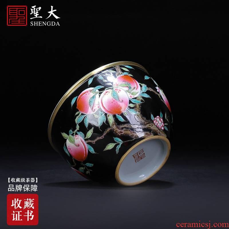 Santa teacups hand - made ceramic kungfu black colored enamel peach lines cylinder cup sample tea cup manual of jingdezhen tea service