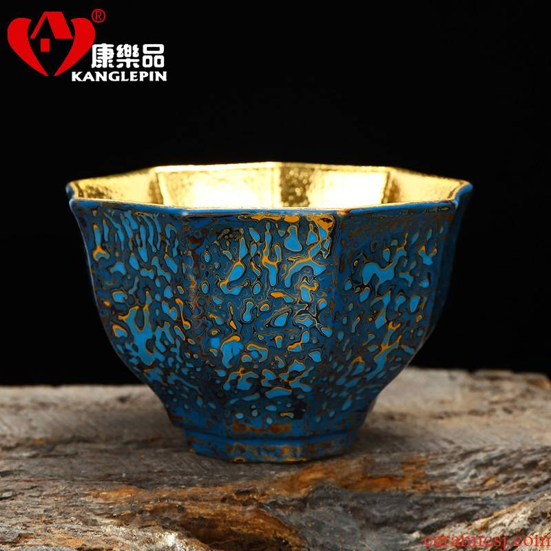 Recreational taste Chinese lacquer rhinoceros leather technology Chinese lacquer violet arenaceous gold cup of pure manual master cup of the big capacity of 185 ml