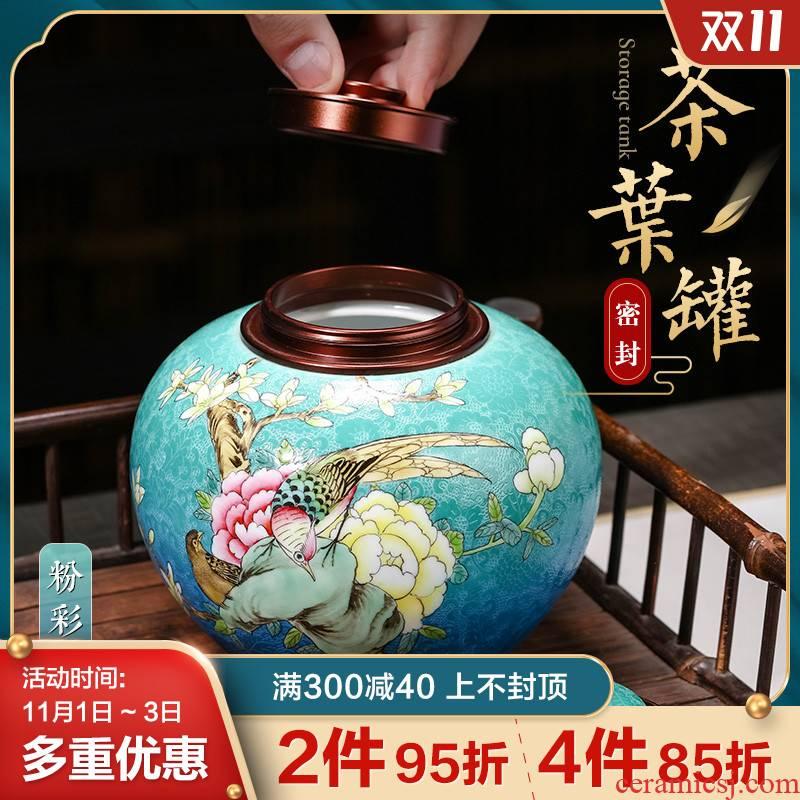 Jingdezhen ceramic food grade storage wake POTS sealed jar with cover the tea pot manual trumpet a kilo