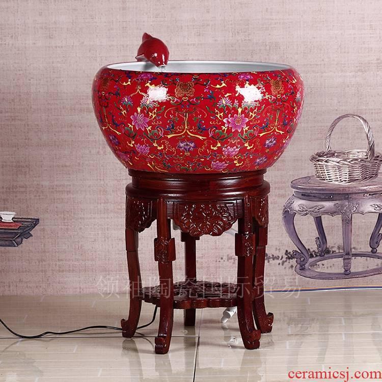 Ornamental fish bowls ceramic Chinese red water aquarium aquarium goldfish bowl Europe type style living room