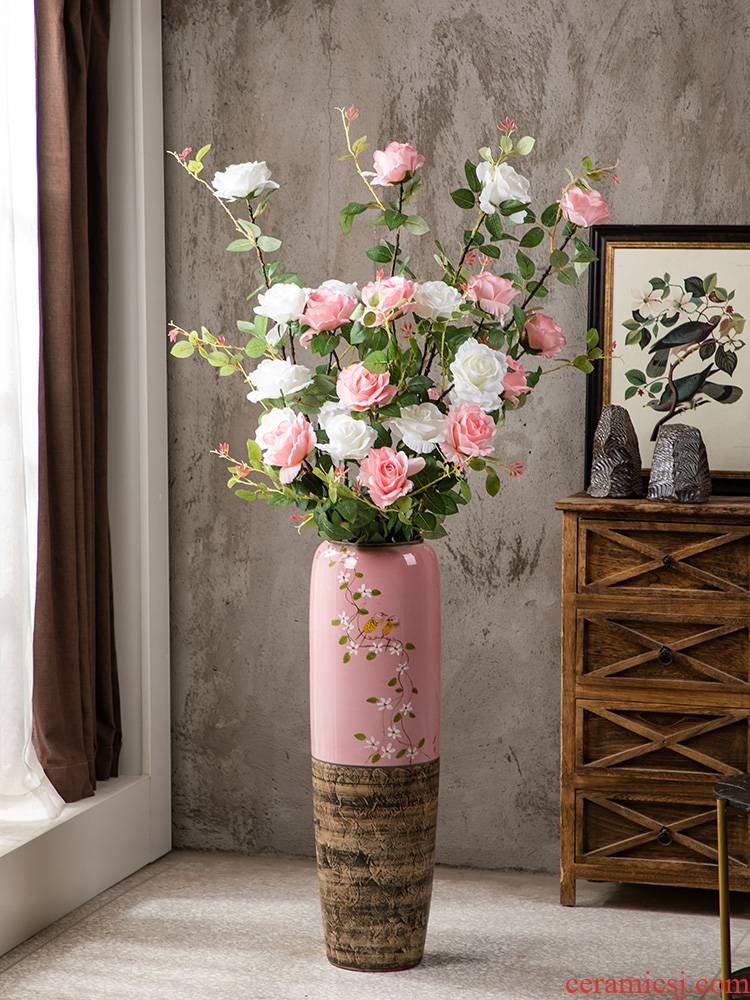 Gagarin landing simulation flower vases, ceramic large birds and flowers pink suit I and contracted sitting room adornment is placed