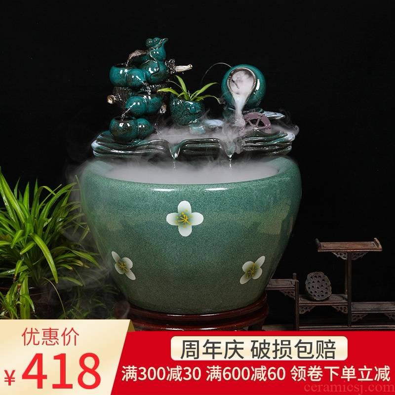 Ceramic tank sitting room circulating water tank large housewarming furnishing articles balcony garden lotus fish bowl