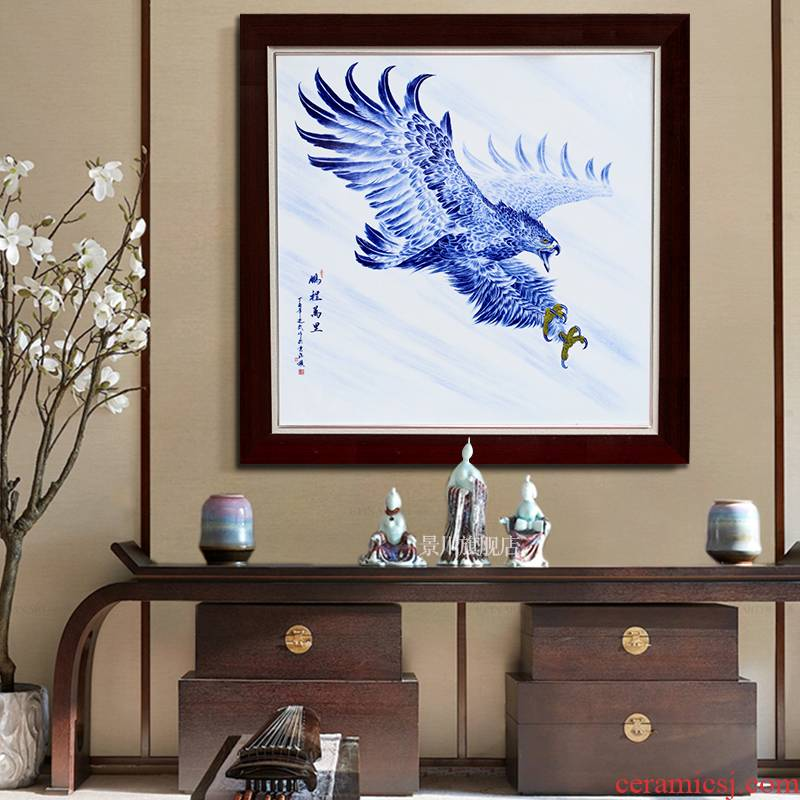 Hand made bright prospects jingdezhen porcelain plate paintings of Chinese style ceramic painting the living room, office decoration hangs a picture background