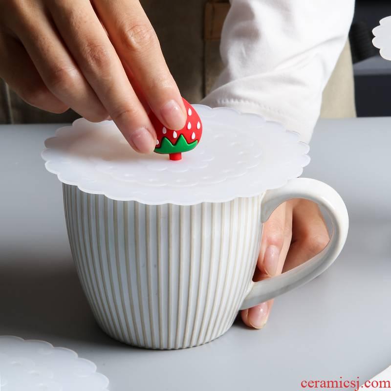 Cartoon food - grade silicone cup cover sealed vacuum cup cover general dustproof ceramic keller cup lid