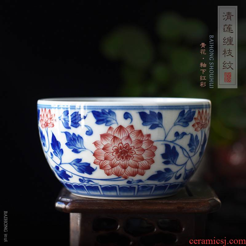 Ocean 's best hong archaize under glaze blue and red color of jingdezhen manual teacups hand - made the master sample tea cup cup single CPU