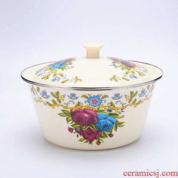 Enamel pot Enamel with cover basin Enamel bathtub cubicle lavabo fruit basin filling its Enamel as the