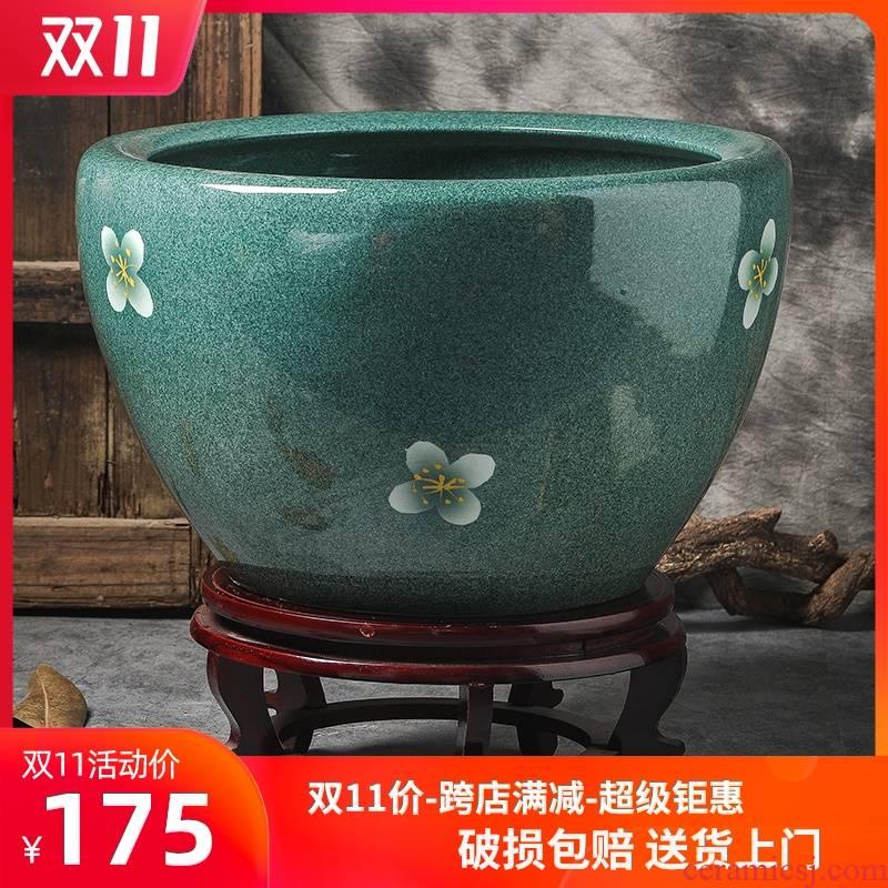 Ceramic aquarium sitting room home courtyard VAT home floor balcony jingdezhen large water lily lotus fish bowl