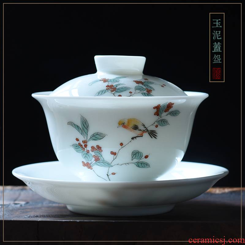 Jingdezhen hand - made tureen large new cups color cherry orchid flowers and birds kung fu tea set ceramic cup bowl three