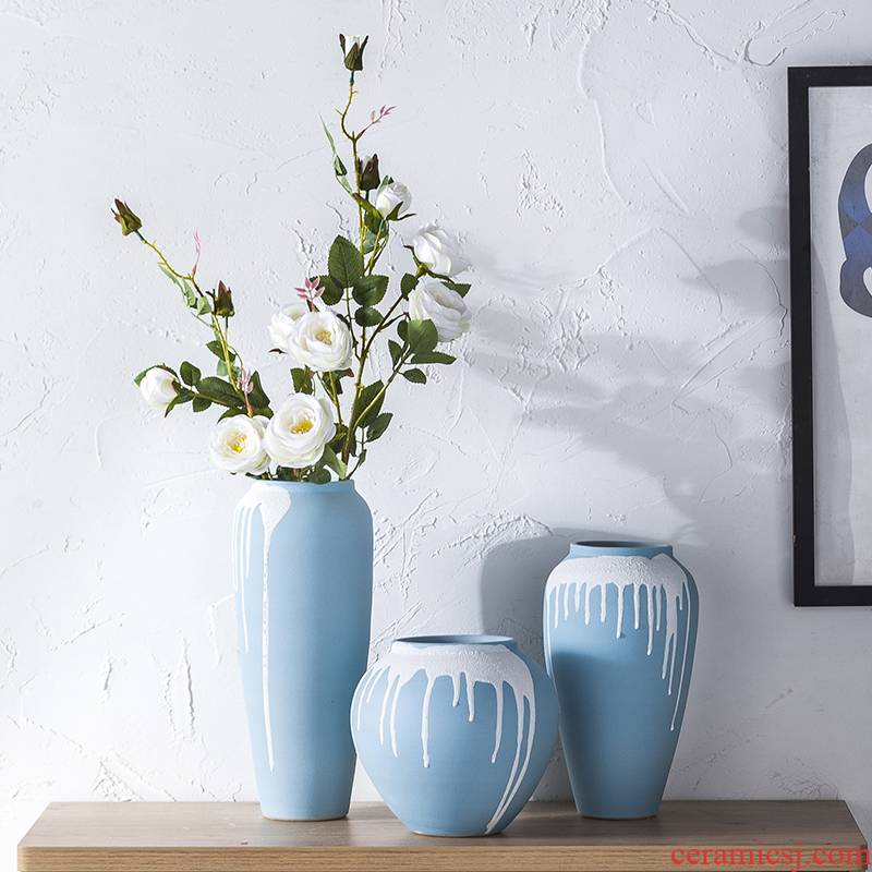 European ceramic vase hydroponic crafts flower implement sitting room of I and contracted household decorative dried flowers flower arrangement furnishing articles