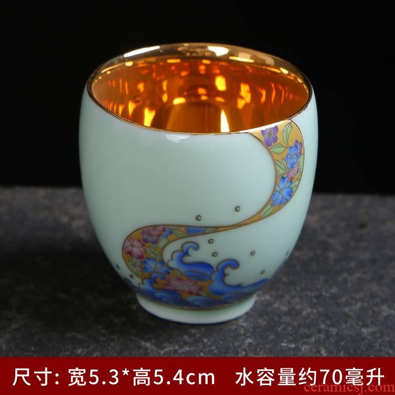 Jingdezhen ceramic famille rose colored enamel celadon masters cup single CPU use kung fu tea tea tea tasted silver gilding