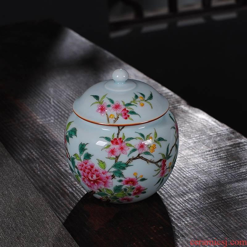 The Owl up of high - grade checking ceramic colored enamel tea boutique tea pot of green glaze peony tank cap decoration decoration