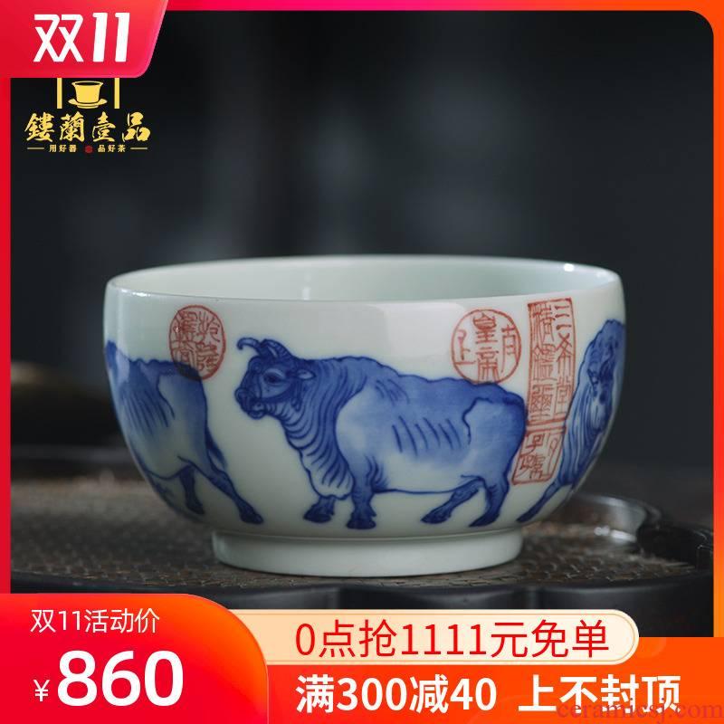 Jingdezhen ceramic all hand - made porcelain cup five NiuTu cylinder large tea cup kung fu tea master cup single CPU