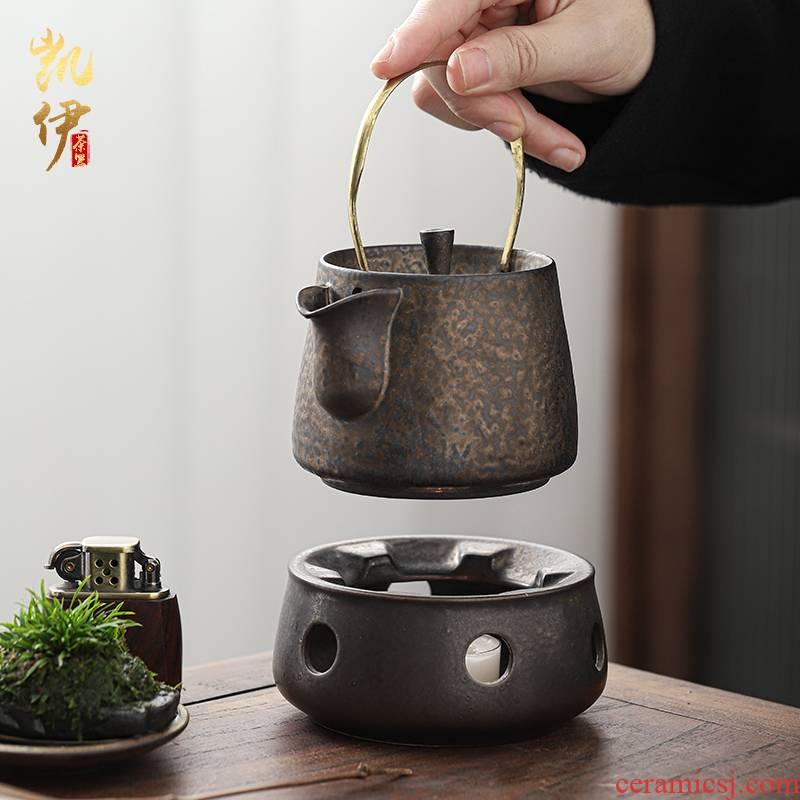 Gold temperature heating ceramic tea set home warm tea ware alcohol based heating kettle, tea, heat preservation in winter