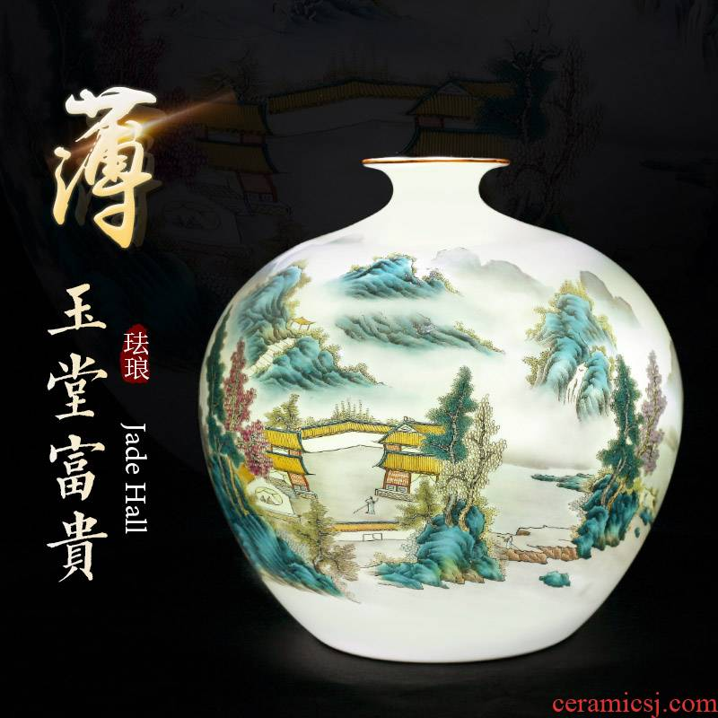 Jingdezhen ceramic vase furnishing articles trumpet flower arranging Chinese style restoring ancient ways thin foetus famous antique hand - made sitting room adornment