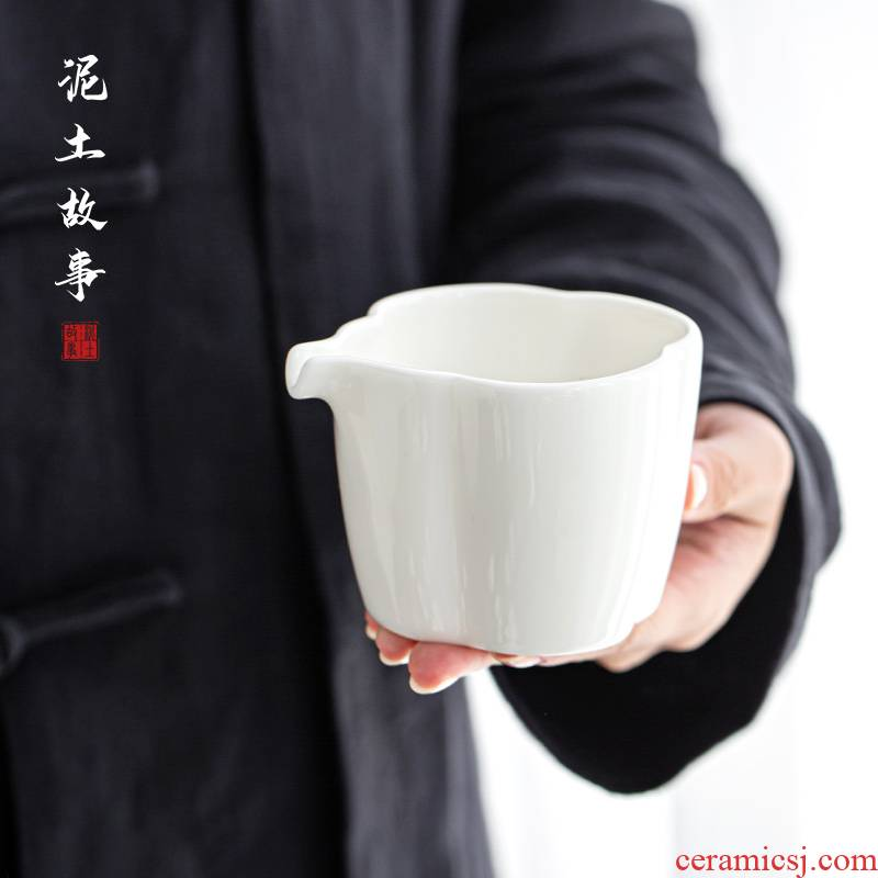 Jade porcelain dehua white porcelain and glass ceramic fair keller large points tea kung fu tea set manually heat - resistant thickening tea sea